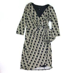 White House Black Market Wrap LS Dress Sz 4